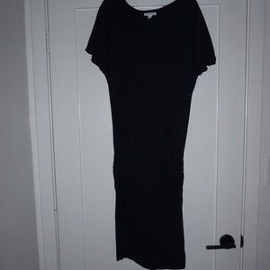 James Perse Ruched-Side Cap-Sleeve Dress